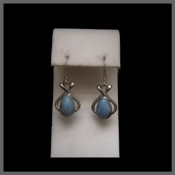 Teardrop Larimar Earrings with Pretzel shape Decoration